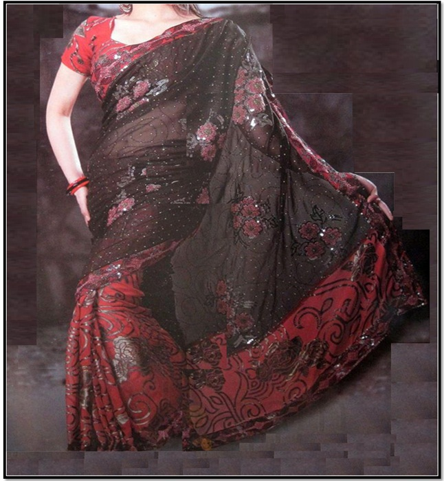 Red Black and Silver Saree