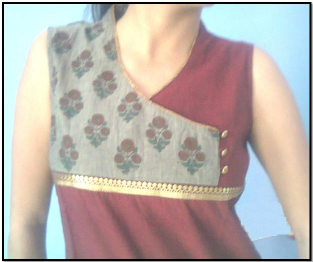maroon_sleeveless_kurti_design